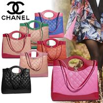 CHANEL Lambskin A4 2WAY Bi-color Plain Elegant Style Handbags