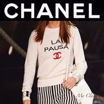 CHANEL ICON Crew Neck Casual Style Cashmere Street Style Long Sleeves