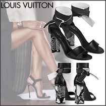 Louis Vuitton Open Toe Blended Fabrics Plain Leather Block Heels Python