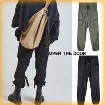 OPEN THE DOOR Unisex Street Style Plain Cargo Pants