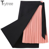Pleated Skirts Bi-color Long Elegant Style Maxi Skirts