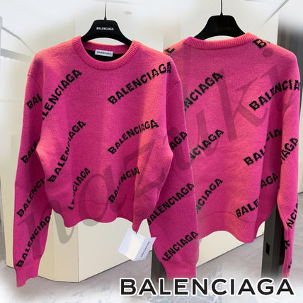 Crew Neck Casual Style Wool Rib Street Style Long Sleeves