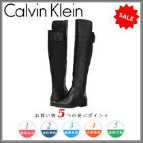 Calvin Klein Round Toe Plain Leather Elegant Style Over-the-Knee Boots