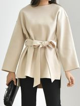 Casual Style Wool Long Sleeves Shirts & Blouses