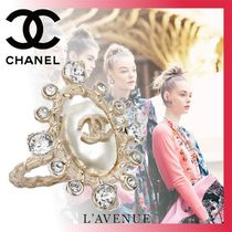 CHANEL Costume Jewelry Blended Fabrics With Jewels Elegant Style