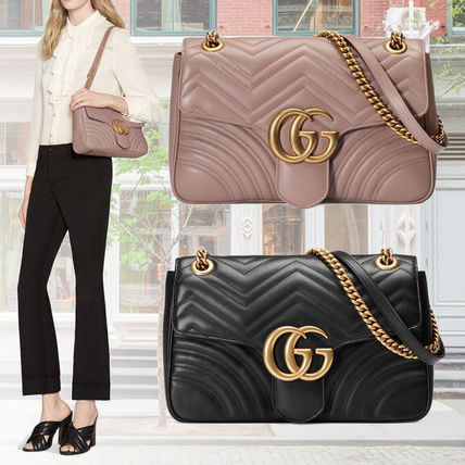 great deals on fashion arrives special price for GUCCI GG Marmont Leather Shoulder Bags (443496 DRW3T 1000/443496 DRW3T 5729)
