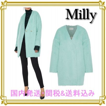 Wool Blended Fabrics Plain Long Elegant Style Coats
