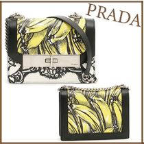 PRADA CAHIER Tropical Patterns Studded 2WAY Chain Leather Party Style