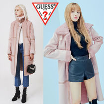 Guess Faux Fur Plain Long Fur Leather Jackets Cashmere & Fur Coats