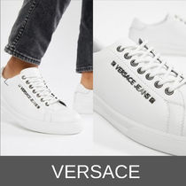 VERSACE Unisex Studded Plain Leather Sneakers