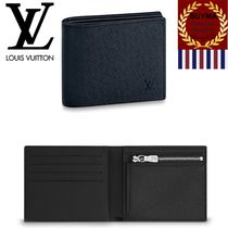 Louis Vuitton TAIGA Unisex Plain Leather Folding Wallets
