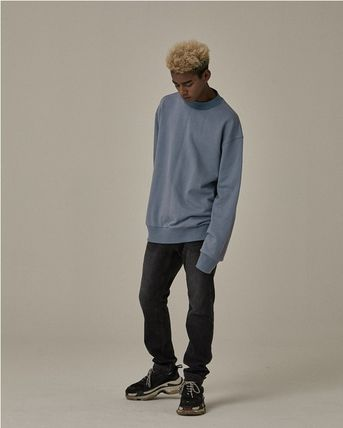 OVERR Sweatshirts Unisex Long Sleeves Plain Cotton Oversized Sweatshirts 14