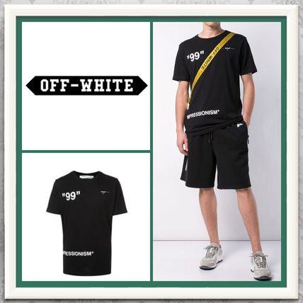 Off-White Crew Neck Crew Neck Plain Cotton Short Sleeves Crew Neck T-Shirts