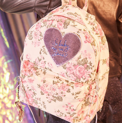 Heart Flower Patterns Casual Style A4 Backpacks
