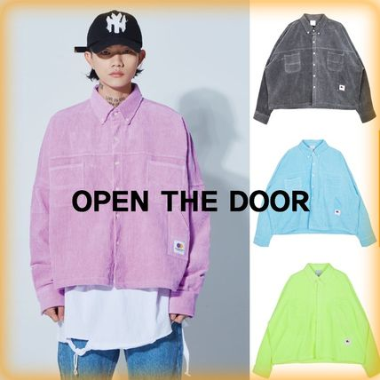 OPEN THE DOOR Shirts Unisex Corduroy Street Style Plain Shirts