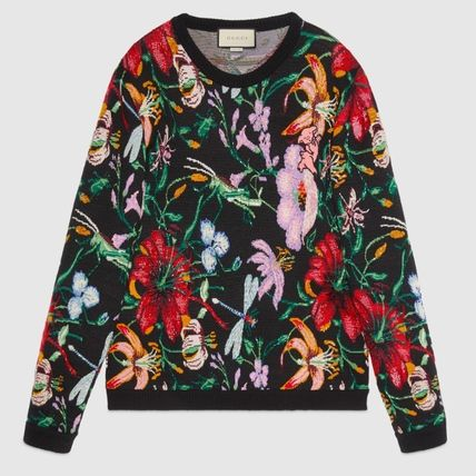 GUCCI Knits & Sweaters Crew Neck Flower Patterns Wool Blended Fabrics Long Sleeves 2