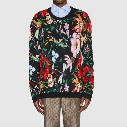 GUCCI Knits & Sweaters Crew Neck Flower Patterns Wool Blended Fabrics Long Sleeves 3