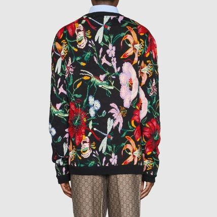 GUCCI Knits & Sweaters Crew Neck Flower Patterns Wool Blended Fabrics Long Sleeves 4