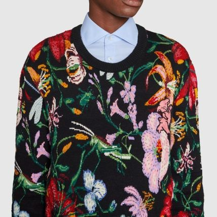 GUCCI Knits & Sweaters Crew Neck Flower Patterns Wool Blended Fabrics Long Sleeves 5