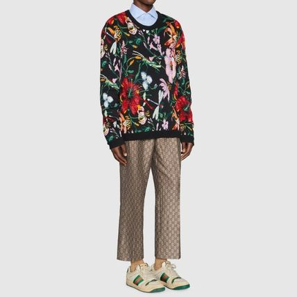 GUCCI Knits & Sweaters Crew Neck Flower Patterns Wool Blended Fabrics Long Sleeves 6