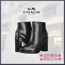 Coach Round Toe Plain Leather Block Heels Elegant Style