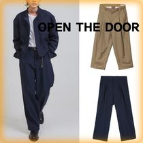 OPEN THE DOOR Slax Pants Unisex Street Style Cotton Slacks Pants