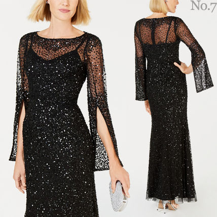 Maxi Boat Neck Long Sleeves Long With Jewels Dresses