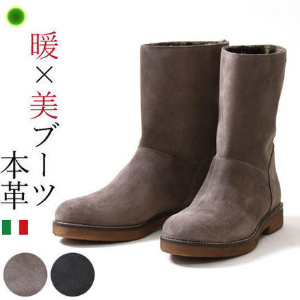 Platform Round Toe Casual Style Suede Plain Mid Heel Boots