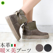 Stefano Gamba Platform Round Toe Casual Style Suede Plain Mid Heel Boots