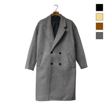 Wool Plain Long Oversized Chester Coats