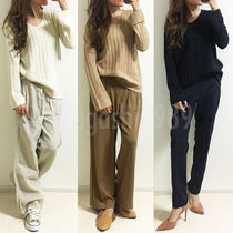 Casual Style V-Neck Long Sleeves Plain Medium Sweaters