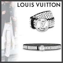 Louis Vuitton Monogram Blended Fabrics Studded Plain Elegant Style Belts