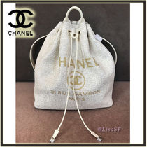 CHANEL DEAUVILLE Chain Plain Elegant Style Backpacks