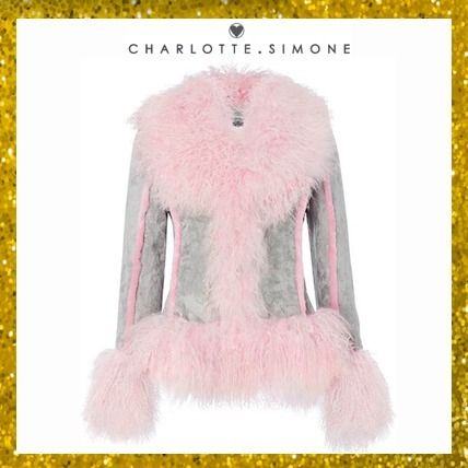 Short Fur Street Style Plain Fringes Cashmere & Fur Coats