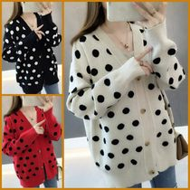 Cable Knit Dots Casual Style Dolman Sleeves Medium Oversized