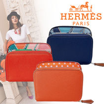 HERMES Silk In Blended Fabrics Plain Leather Coin Purses