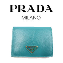 PRADA SAFFIANO VERNICE Unisex Plain Leather Folding Wallets
