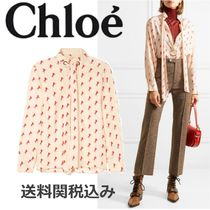 Chloe Silk Long Sleeves Other Animal Patterns Elegant Style