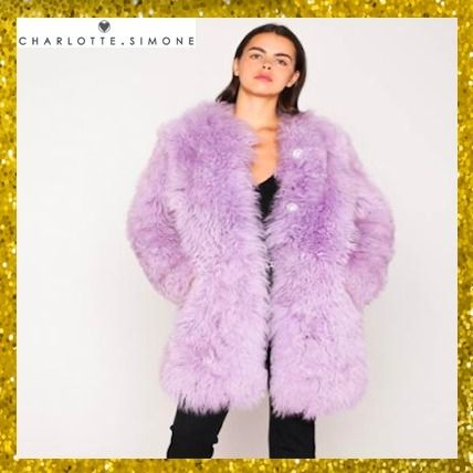 Fur Street Style Plain Medium Cashmere & Fur Coats