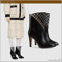 GUCCI Casual Style Plain Leather Pin Heels Ankle & Booties Boots