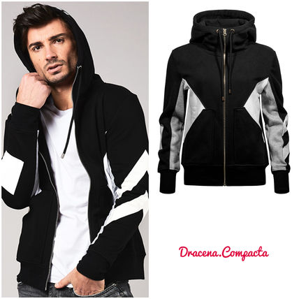 Street Style Bi-color Long Sleeves Plain Cotton Hoodies