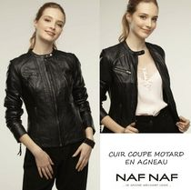 NAF NAF Short Street Style Plain Leather Biker Jackets