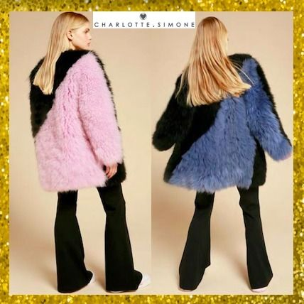 Fur Street Style Bi-color Plain Medium Oversized