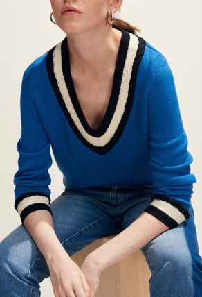 Wool Blended Fabrics V-Neck Long Sleeves Sweaters