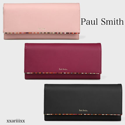 Stripes Blended Fabrics Leather Long Wallets