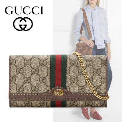 d2886632378a97 GUCCI Ophidia 2018-19AW Suede Chain Plain Long Wallets (546592 96IWS ...