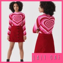 LAZY OAF Heart Casual Style Street Style Long Sleeves Cotton