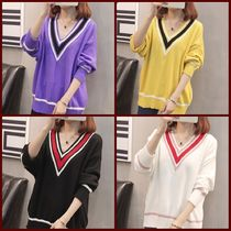 Cable Knit Stripes Casual Style V-Neck Long Sleeves Medium