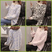 Cable Knit Leopard Patterns Casual Style U-Neck Long Sleeves