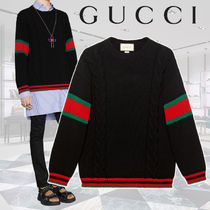 GUCCI Crew Neck Cable Knit Stripes Wool Long Sleeves Plain